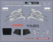 Decals für LKW-Dekor für Volvo FH 2013 (silber) (6,4 x 5,1 cm)