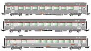 Jouef 3-tlg. TEE-Set, SNCF Reisezugwagen Typs Mistral 69 (A8u, A8tu und Vru), Ep