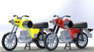 KRES 1:87 Komplettmodelle 2x Motorrad  TS250, rot und blau
