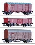 Tillig Güterwagenset der FS, ÖBB+DB, zwei gedeckte+1 offenen Güterw, Ep. III 010