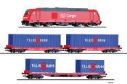 Tillig Start-Set Güterzug der DB AG Diesellok TRAXX +2 Flach