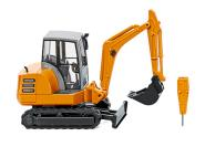 Wiking Mini Bagger HR 18 + Bohrhammer kommunalorange 065806