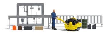Busch A-Set:Straßenwalze m Figur H0 7805