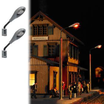 Busch Wandlampen 2 Stück m. silbernen Lampenkörper 4133