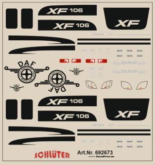 Decals für LKW-Details für DAF XF 106 (schwarz) (6 x 6 cm)