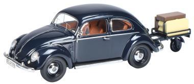 Schuco 1:43 VW Käfer m. Anhänger blau