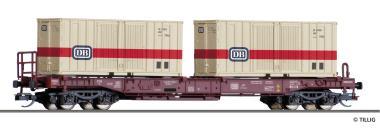 Tillig Taschenwagen Sdkms 707 DB, mit zwei Containern, Ep. IV 18154