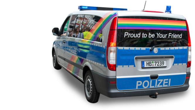 Herpa MB Vito Bus Polizei Bremen Proud to be a friend 941792