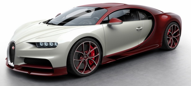 Looksmart 1:43 Bugatti Chiron - Red Carbon / Glacier