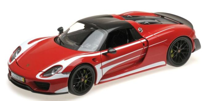 Minichamps 1:18 Porsche 918 Spyder 2013 - Weissach Package RED W/ WHITE STRIPES