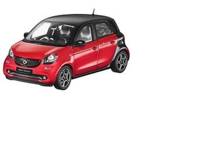 ds automodelle modellbauvertrieb norev 1 18 smart forfour 2014 black red online kaufen. Black Bedroom Furniture Sets. Home Design Ideas