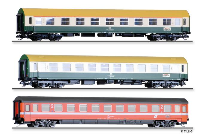 Tillig Reisezugwagenset Vindobona 2 DR/ÖBB,drei Reisezugwagen, Ep. IV 01777